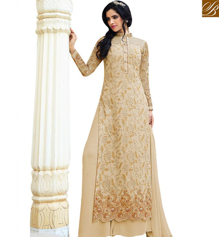 STYLISH BAZAAR BEAUTIFUL CREAM GEORGETTE EMBROIDERED SALWAR KAMEEZ WITH PLAZZO STYLE SLAFN10005