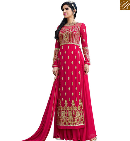 STYLISH BAZAAR WEAR PRINCELY RED GEORGETTE DESIGNER SALWAR SUIT WITH PLAZZO STYLE SLAFN10006