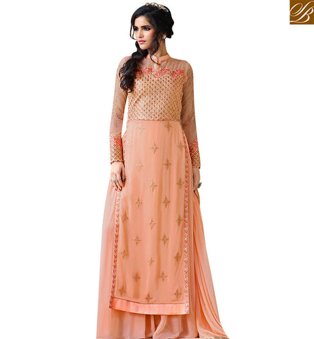 STYLISH BAZAAR ENTICING PEACH ROYAL GEORGETTE EMBROIDERED SALWAR SUIT HAVING PLAZZO WITH PEACH DUPATTA SLAFN10007