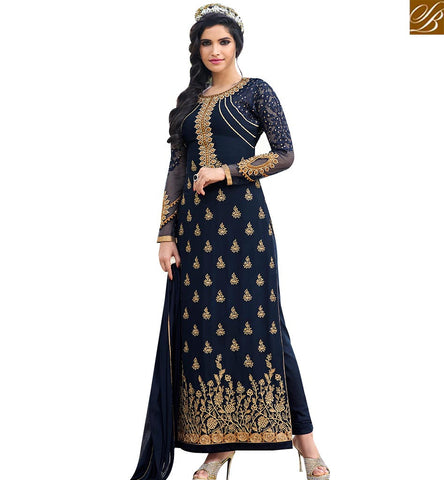STYLISH BAZAAR BUY NAVY BLUE GEORGETTE KARACHI STYLE PARTY WEAR STRAIGHT CUT SALWAR KAMEEZ SLAFN10008