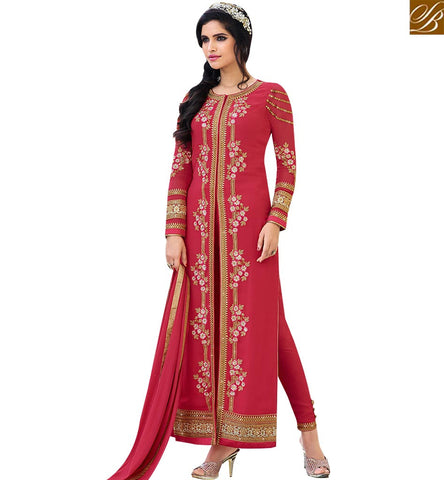 STYLISH BAZAAR GRACEFUL RED GEORGETTE DESIGNER STRAIGHT CUT SALWAR KAMEEZ HAVING SLIT FROM THE MIDDLE SLAFN10009