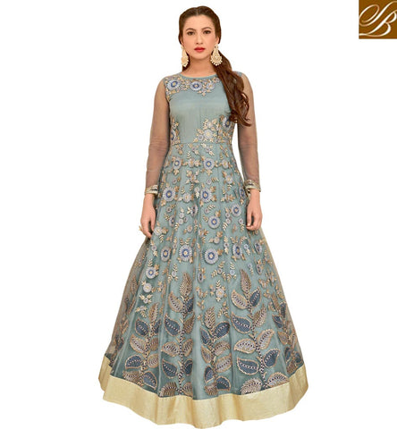 STYLISH BAZAAR BIGG BOSS 10 GAUHAR KHAN ENTRY IN DESIGNER SALWAR STUDIO LONG FROCK SUITS LATEST DESIGNER SUITS ONLINE SLAR16011