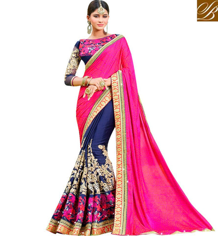 STYLISH BAZAAR PINK AND NAVY BLUE HEAVY EMBROIDERED HALF N HALF SAREE SLARD1012