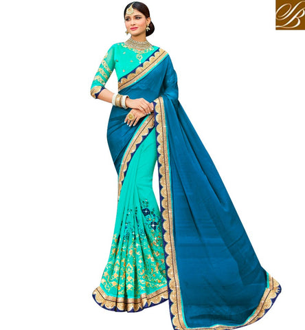 STYLISH BAZAAR BUY INDIAN TRADITIONAL HALF AND HALF PARTY WEAR EMBROIDERED SAREE SLARD1017