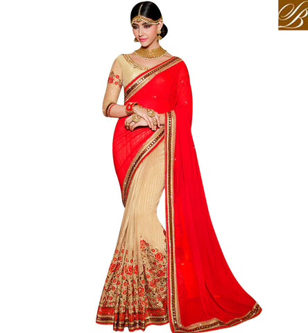 STYLISH BAZAAR RED AND CREAM COLOUR HAVING WELL COMBINATION PARTY WEAR SAREE SLARD1019