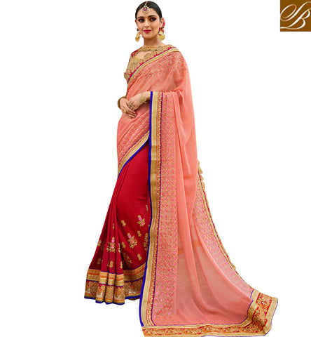 STYLISH BAZAAR Peach & red half sari with red blouse Aardhangini Saree blouse designs