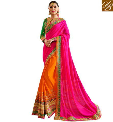 Pink and orange bridal half sari with green embroidered blouse online