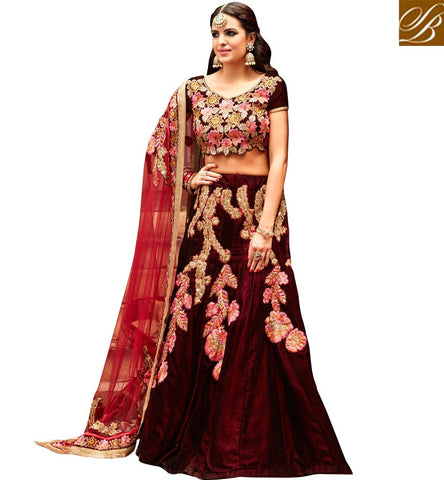 STYLISH BAZAAR WONDERFUL WINE EMBROIDERED VELVET BEAUTIFUL DESIGNED LEHENGA CHOLI SLHOT3554