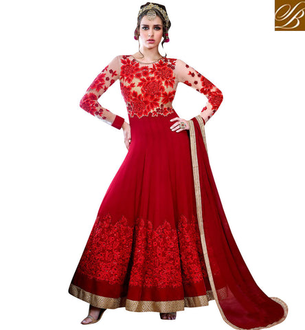 STYLISH BAZAAR BUY LATEST ETHNIC BOLLYWOOD DESIGNER INDO-WESTERN STYLE RED WEDDING GOWN FOR ONLINE SHOPPING SLHOT5773