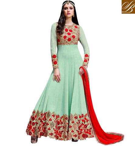 STYLISH BAZAAR SHOP BLUE EMBROIDERED WEDDING WEAR SALWAAR KAMEEZ SUIT FOR WOMEN IN INDIA IN ONLINE SHOPPING SLHOT5776
