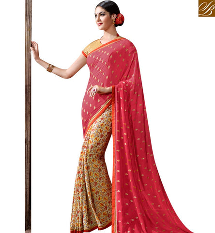STYLISH BAZAAR RED AND BEIGE GEORGETTE CASUAL WEAR PRINTED DESIGNER SAREE SLKSS4001