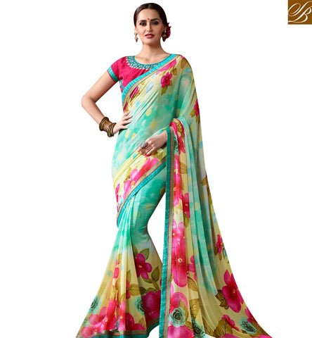 STYLISH BAZAAR WONDERFUL SEA GREEN GEORGETTE CASUAL WEAR DESIGNER SAREE WITH FLOWER PRINT SLKSS4002
