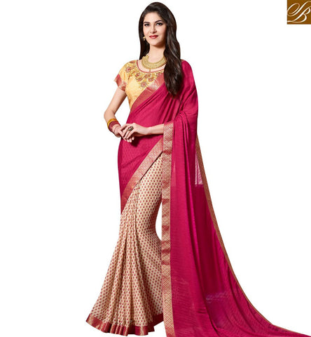 STYLISH BAZAAR RED AND BEIGE GEORGETTE HALF N HALF CASUAL WEAR DESIGNER SAREE SLKSS4003