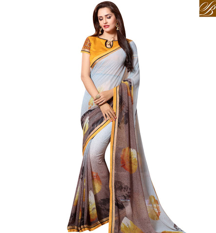 STYLISH BAZAAR SHOP SKY BLUE AND BROWN GEORGETTE CASUAL WEAR DESIGNER SAREE WITH LEAF PRINT SLKSS4004
