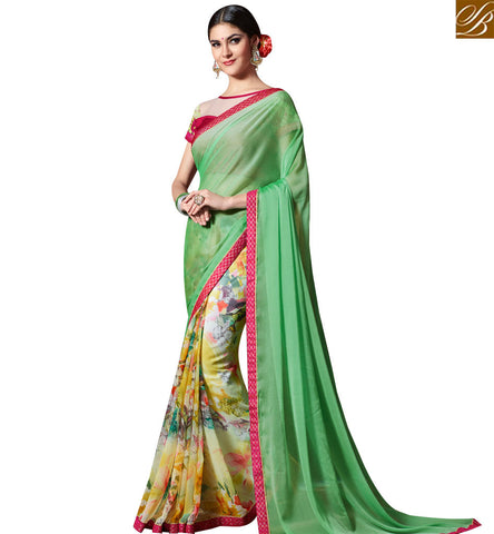 STYLISH BAZAAR GREEN AND MUSTARD GEORGETTE CASUAL WEAR HALF N HALF SAREE HAVING LOVELY PRINT SLKSS4005