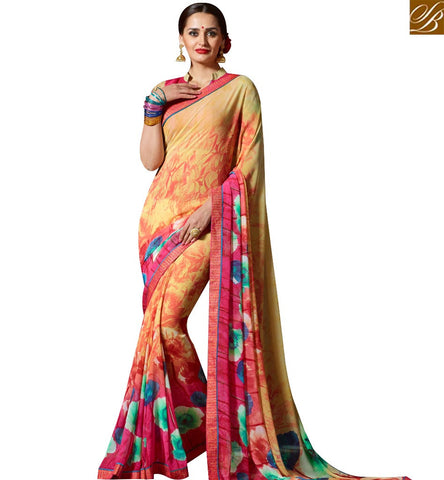 STYLISH BAZAAR ELEGANT YELLOW AND PINK GEORGETTE CASUAL WEAR SAREE CONTAIN BEAUTIFUL FLOWER PRINT SLKSS4006