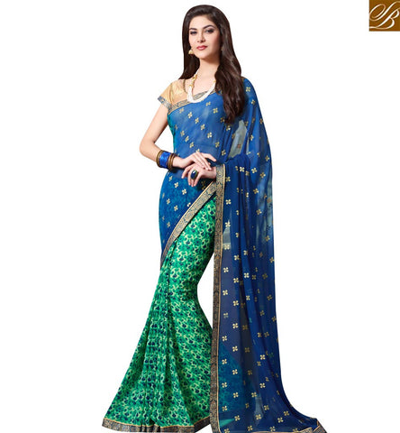 STYLISH BAZAAR INVITING BLUE AND GREEN GEORGETTE HALF N HALF CASUAL WEAR SAREE WITH BUTTI WORK SLKSS4007