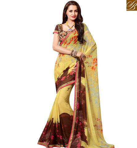 STYLISH BAZAAR BEAUTIFUL YELLOW AND BROWN GEORGETTE CASUAL WEAR SAREE WITH ATTRACTIVE PRINT SLKSS4008