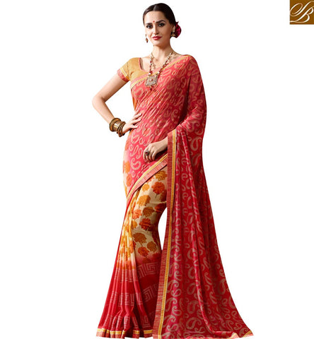 STYLISH BAZAAR STUNNING RED GEORGETTE CASUAL WEAR HAVING FLOWER PRINT SAREE WITH LACE BORDER SLKSS4010
