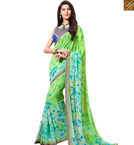 STYLISH BAZAAR DELIGHTFUL GREEN PRINT GEORGETTE CASUAL WEAR SAREE WITH DESIGNER BLOUSE SLKSS4011