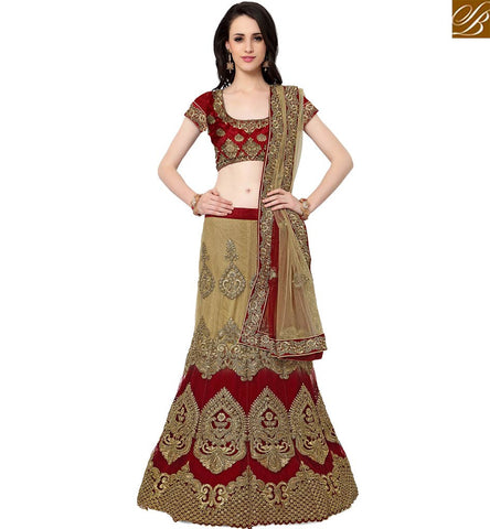 STYLISH BAZAAR DAZZLING BEIGE AND MAROON NET HEAVY EMBROIDERED LAHENGA WITH SILK CHOLI SLMAN910