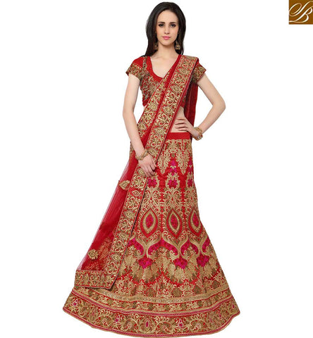 STYLISH BAZAAR WONDERFUL MAROON SILK HEAVY EMBROIDERED LEHENGA CHOLI WITH ZARI AND STONE WORK SLMAN912