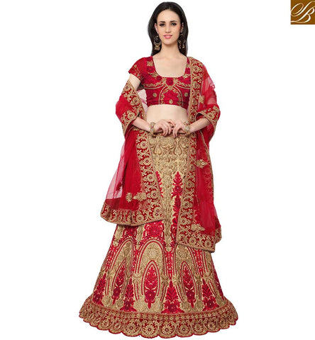 STYLISH BAZAAR WEAR INDIAN DESIGNER MAROON AND BEIGE SILK PARTY WEAR LEHENGA CHOLI WITH STONE WORK SLMAN913