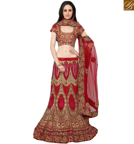 STYLISH BAZAAR SHOP ONLINE PARTY WEAR LEHENGA CHOLI HAVING GLORIOUS EMBROIDERY WITH ZARI AND STONE WORK SLMAN914