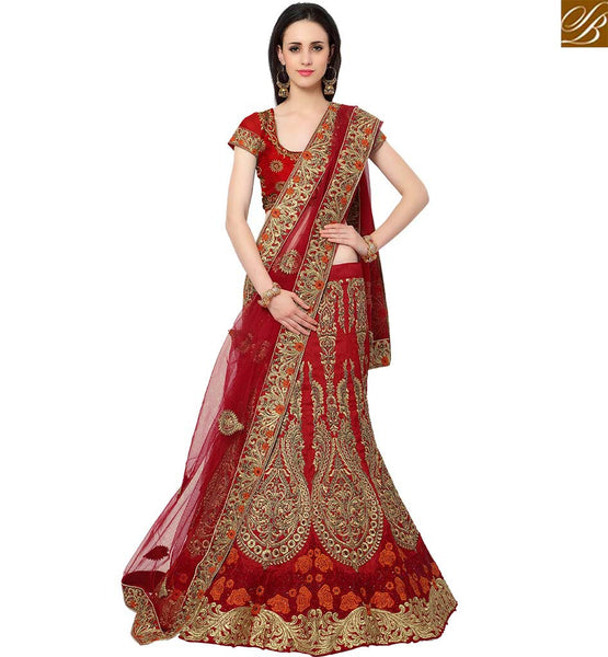 STYLISH BAZAAR BEAUTIFUL MAROON SILK HAVING EYE CATCHING EMBEDDED LEHENGA CHOLI WITH KALI AND BUTTA WORK SLMAN916