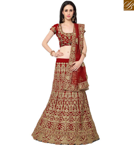 STYLISH BAZAAR CAPTIVATING MAROON SILK DESIGNER LEHENGA CHOLI WITH THE FULL OF RESHAM EMBROIDERY AND STONE WORK SLMAN917