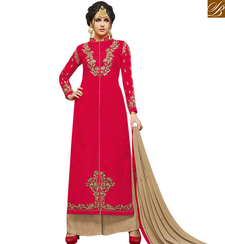 STYLISH BAZAAR ATTRACTIVE RED SILK DESIGNER STRAIGHT CUT PLAZZO SUIT WITH SLIT CUT STYLE SLMHK21001