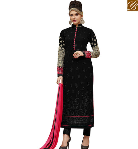 STYLISH BAZAAR SPARK UP AN OCCASION WITH CAPTIVATING BLACK GEORGETTE STRAIGHT CUT DESIGNER SUIT SLMHK21003