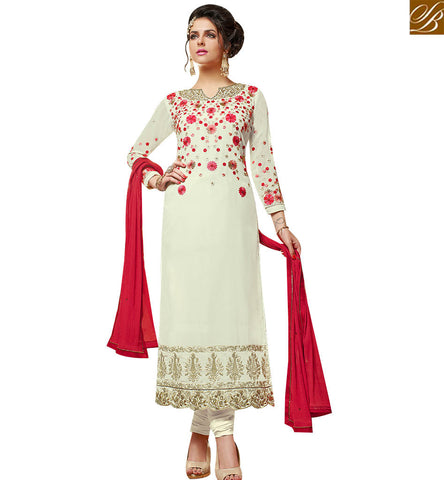 STYLISH BAZAAR DELIGHTFUL OFF WHITE GEORGETTE DESIGNER STRAIGHT CUT SALWAR KAMEEZ HAVING FLORAL WORK SLMHK21004