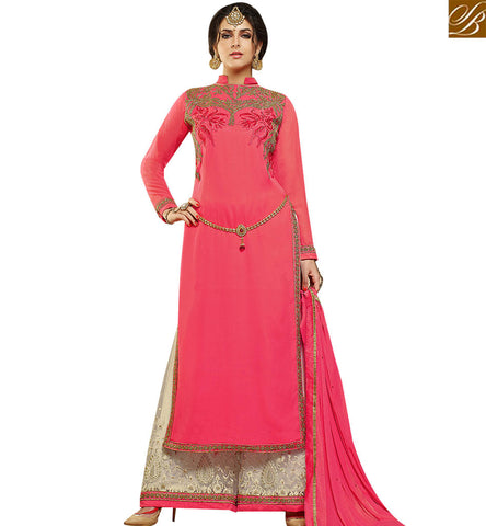 STYLISH BAZAAR ELEGANT PINK GEORGETTE STRAIGHT CUT SUIT HAVING CREAM EMBROIDERED PLAZZO WITH PINK DUPATTA SLMHK21005