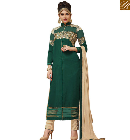 STYLISH BAZAAR ONLINE SHOPPING GRACEFUL GREEN GEORGETTE STRAIGHT CUT SUIT WITH LOVELY BEIGE TROUSER SLMHK21006