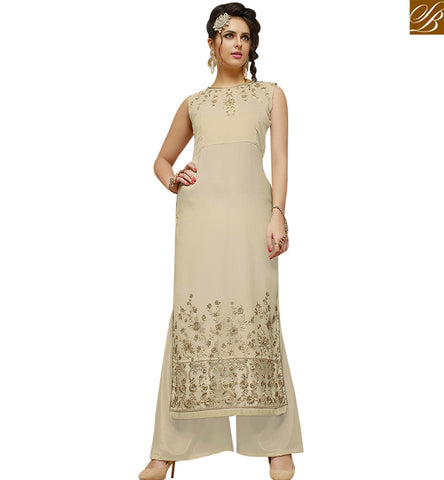 STYLISH BAZAAR WEAR NEW TRADITIONAL STRAIGHT CUT DESIGNER PLAZZO SUIT WITH BROWN GEORGETTE JACKET SLMHK21007