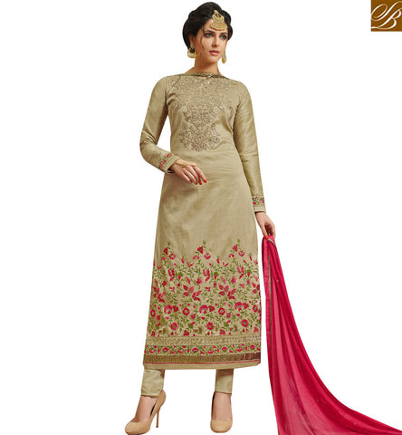 STYLISH BAZAAR CAPTIVATING BEIGE SILK STRAIGHT CUT CHURIDAAR DESIGNER SUIT WITH ELEGANT FLORAL WORK SLMHK21008
