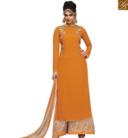 STYLISH BAZAAR DAZZLING ORANGE GEORGETTE DESIGNER STRAIGHT CUT PLAZZO SUIT CAN BE MADE IN TWO STYLE SLMHK21009
