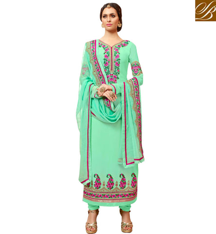 STYLISH BAZAAR SHOP SKY BLUE FOOT LENGTH DESIGNER SALWAR KAMEEZ IN ONLINE SHOPPING EID DRESSES FOR WOMEN SLMHK22003