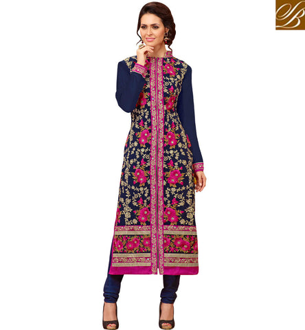 STYLISH BAZAAR SPARKLING DARK BLUE EMBROIDERED GEORGETTE SALWAAR KAMEEZ STYLISH INDIAN FASHIONABLE EID DRESSES COLLECTION FOR WOMEN SLMHK22005