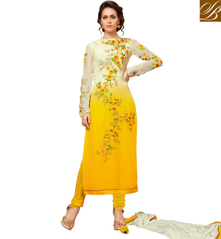 STYLISH BAZAAR BUY YELLOW WHITE COMBINATION GEORGETTE SALWAAR KAMEEZ LATEST STRAIGHT CUT WOMEN SUIT IN ONLINE SHOPPING SLMHK22006