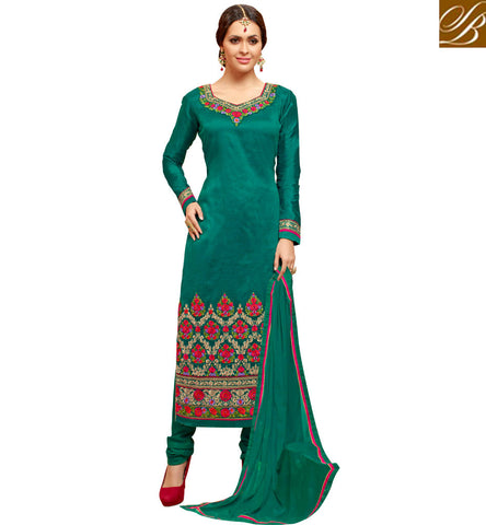 STYLISH BAZAAR GREEN MARVELOUS HANDI WORK CHURIDAAR SILK SALWAR KAMEEZ ONLINE FOR WOMEN IN INDIA FASHION SLMHK22007