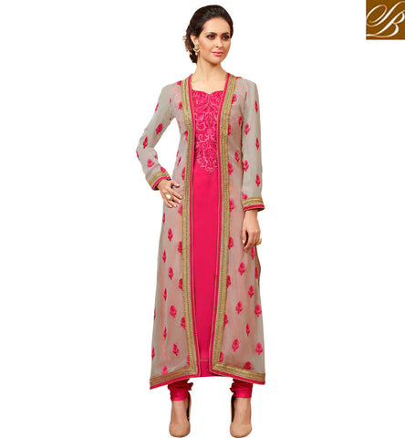 LATEST DESIGNER JACKET STYLE PARTY WEAR HOT PINK SALWAAR KAMEEZ NEW LOVELY EID LADIES DRESSES SLMHK22009