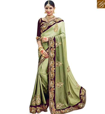 STYLISH BAZAAR SHOP INDIAN TRADITIONAL SATIN SILK PARTY WEAR EMBROIDERED SAREE SLMN3601