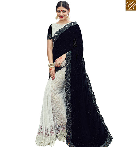 STYLISH BAZAAR OFF WHITE NET AND BLACK VELVET DESIGNER PARTY WEAR SAREE WITH SEQUENCE WORK SLMN3606