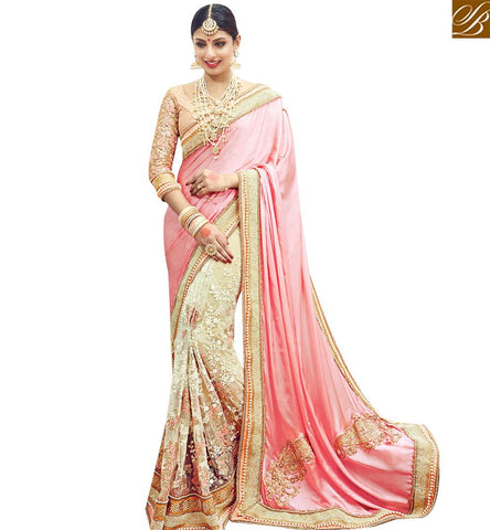 STYLISH BAZAAR STUNNING PINK SATIN AND CREAM NET EMBROIDERED PARTY WEAR SAREE WITH JARI & DIAMOND SLMN3607