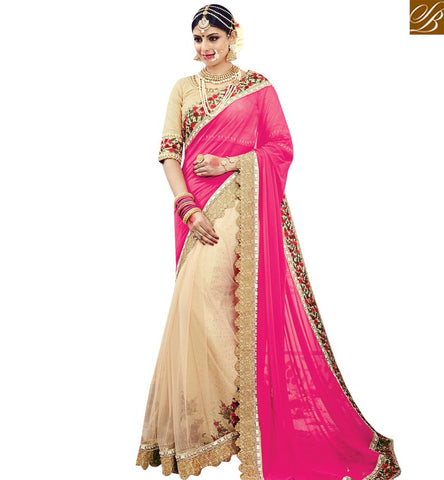 STYLISH BAZAAR ELEGANT PINK LYCRA NET PALLU AND CREAM SPARKLE NET SKIRT PARTY WEAR SAREE SLMN3609