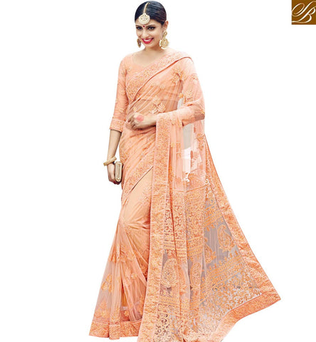 STYLISH BAZAAR DAZZLING PEACH NET WELL EMBEDDED PARTY WEAR SAREE WITH CUT DANA HEAVY WORK SLMN3610