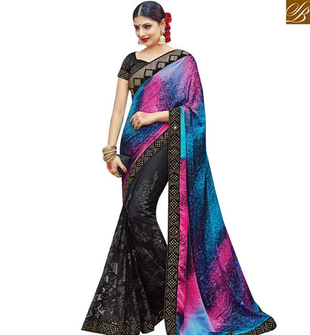 STYLISH BAZAAR BLACK NET SILK DESIGNER WELL DECORATED PARTY WEAR SAREE WITH MULTICOLOUR PALLU SLMN3611