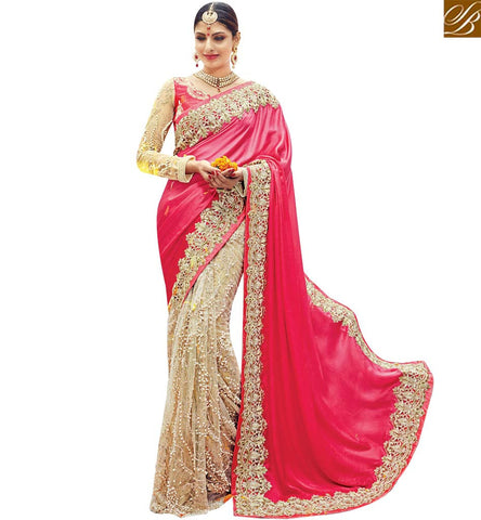 STYLISH BAZAAR RED AND CREAM NET SILK DESIGNER PARTY WEAR SAREE WITH ENCHANTING EMBROIDERY SLMN3612